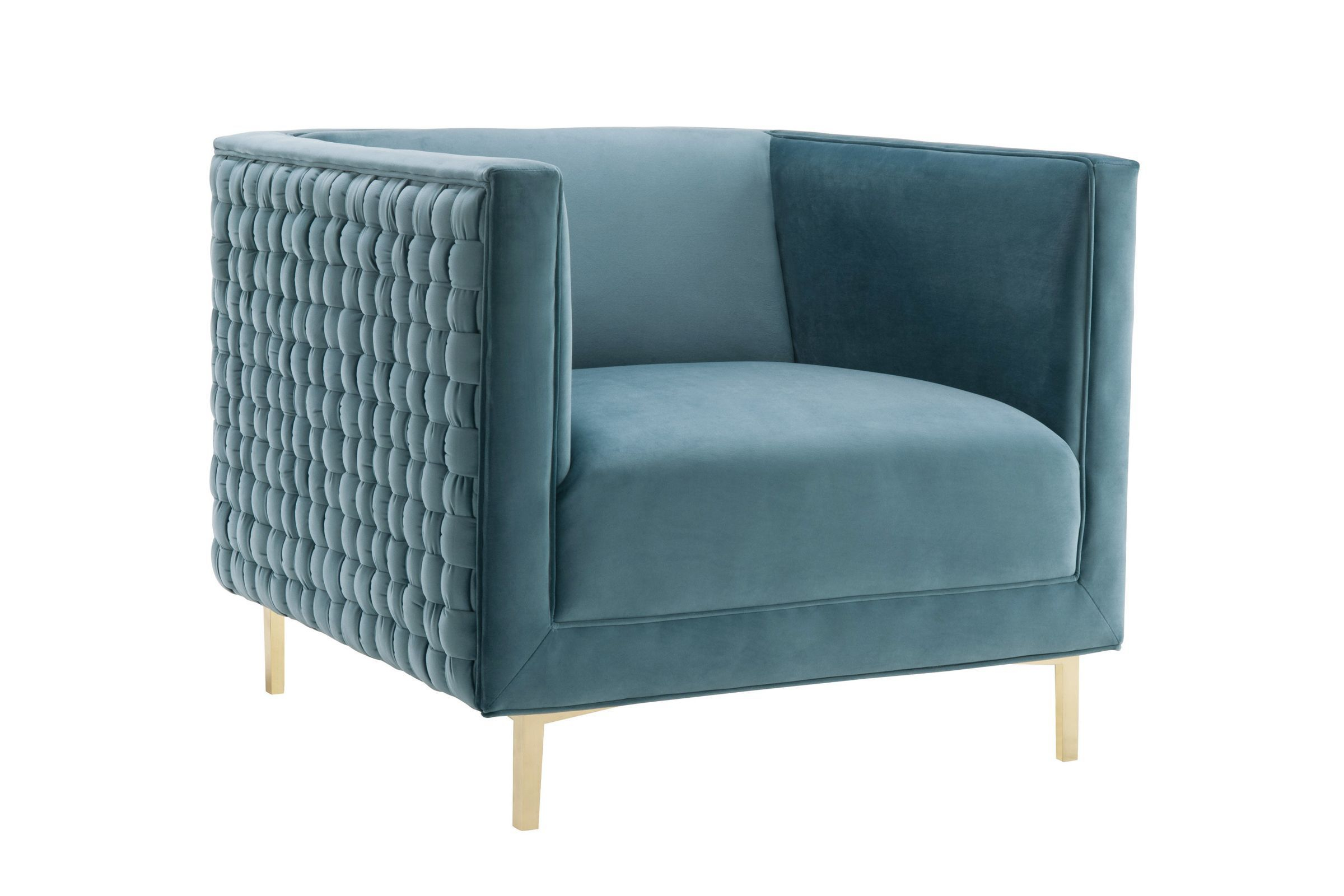 Sal Sea Blue Woven Chairtov In 2020 | Woven Chair Pertaining To Lucea Faux Leather Barrel Chairs And Ottoman (View 5 of 15)