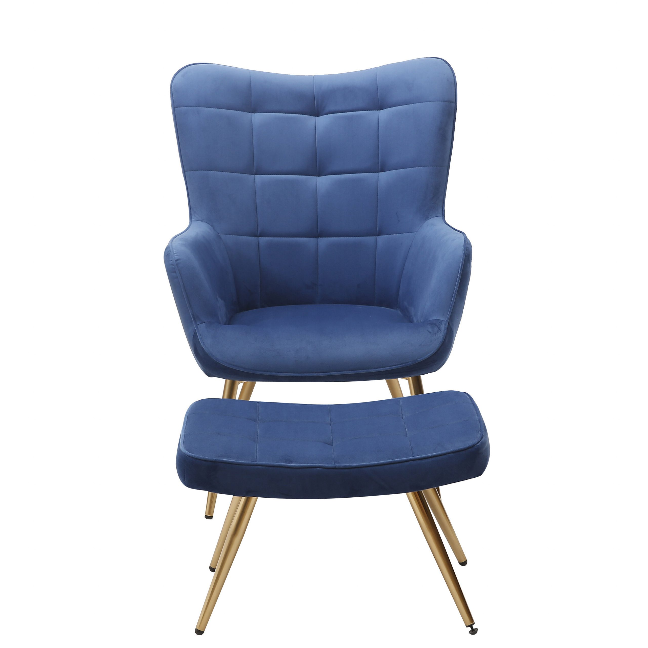 """Sau 29"""" W Tufted Velvet Wingback Chair And Ottoman Inside Hallsville Performance Velvet Armchairs And Ottoman (View 14 of 15)"""