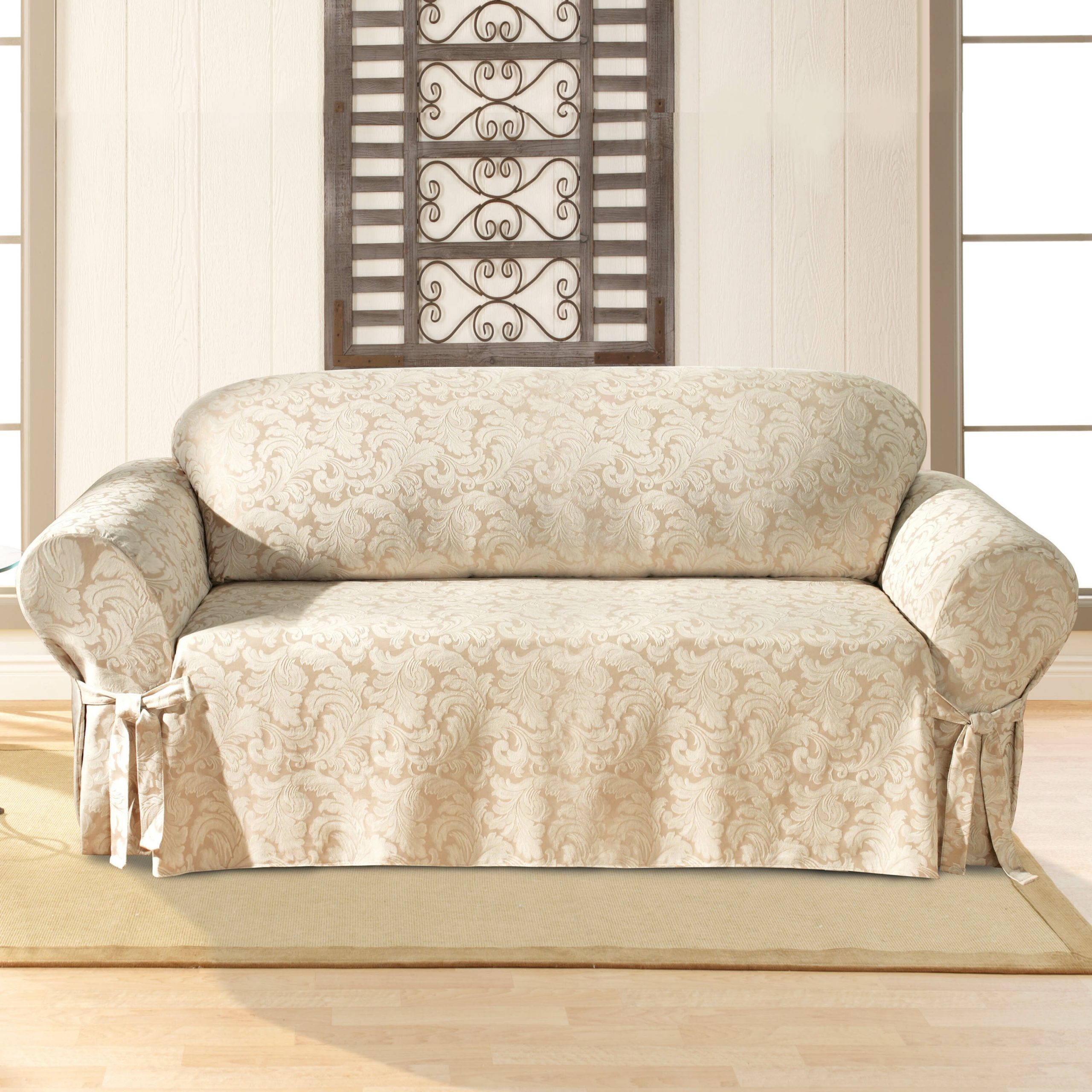 Scroll Classic Box Cushion Sofa Slipcover With Regard To Abbottsmoor Barrel Chair And Ottoman Sets (View 5 of 15)