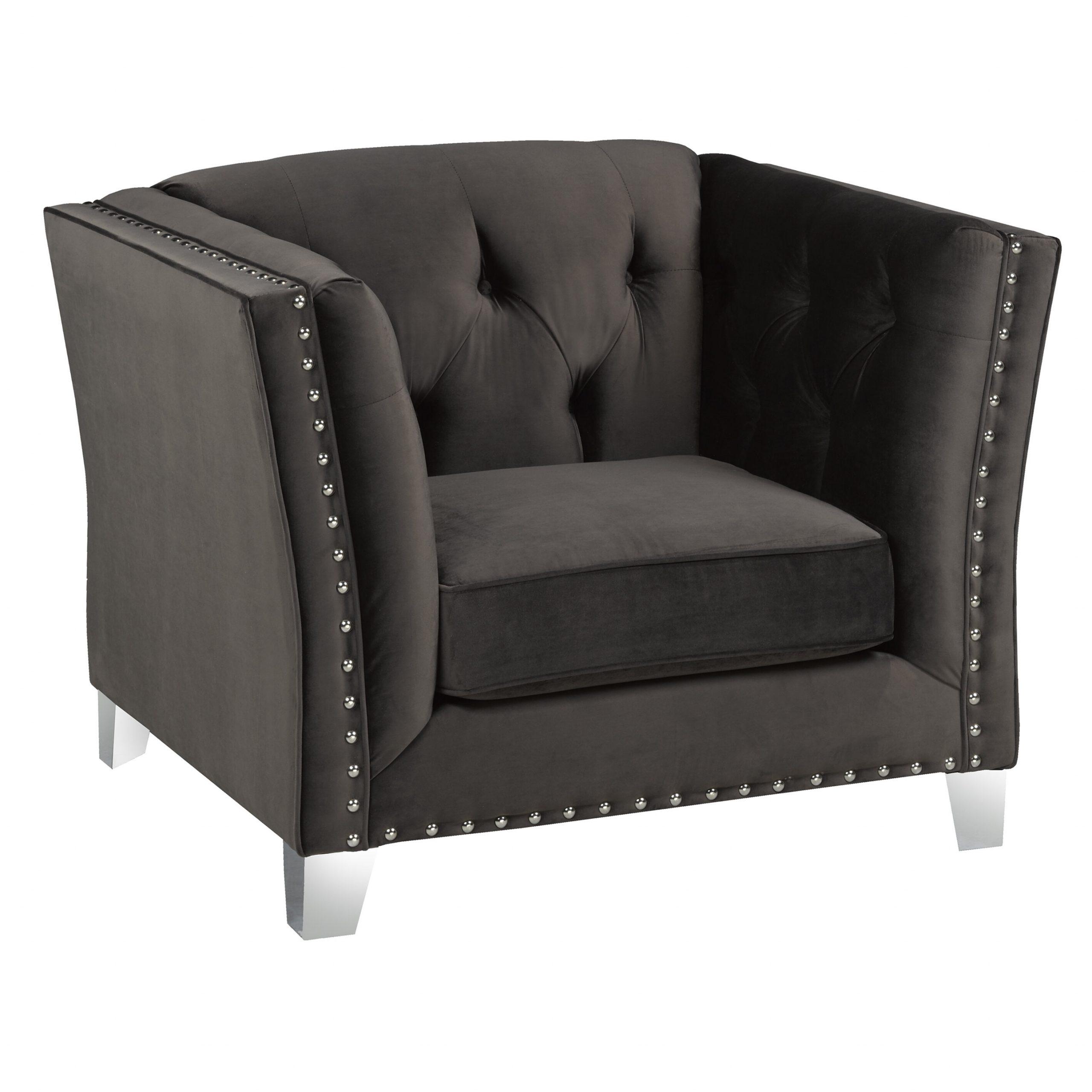 "Shept Mallet 41"" W Tufted Velvet Armchair With Regard To Didonato Tufted Velvet Armchairs (View 8 of 15)"
