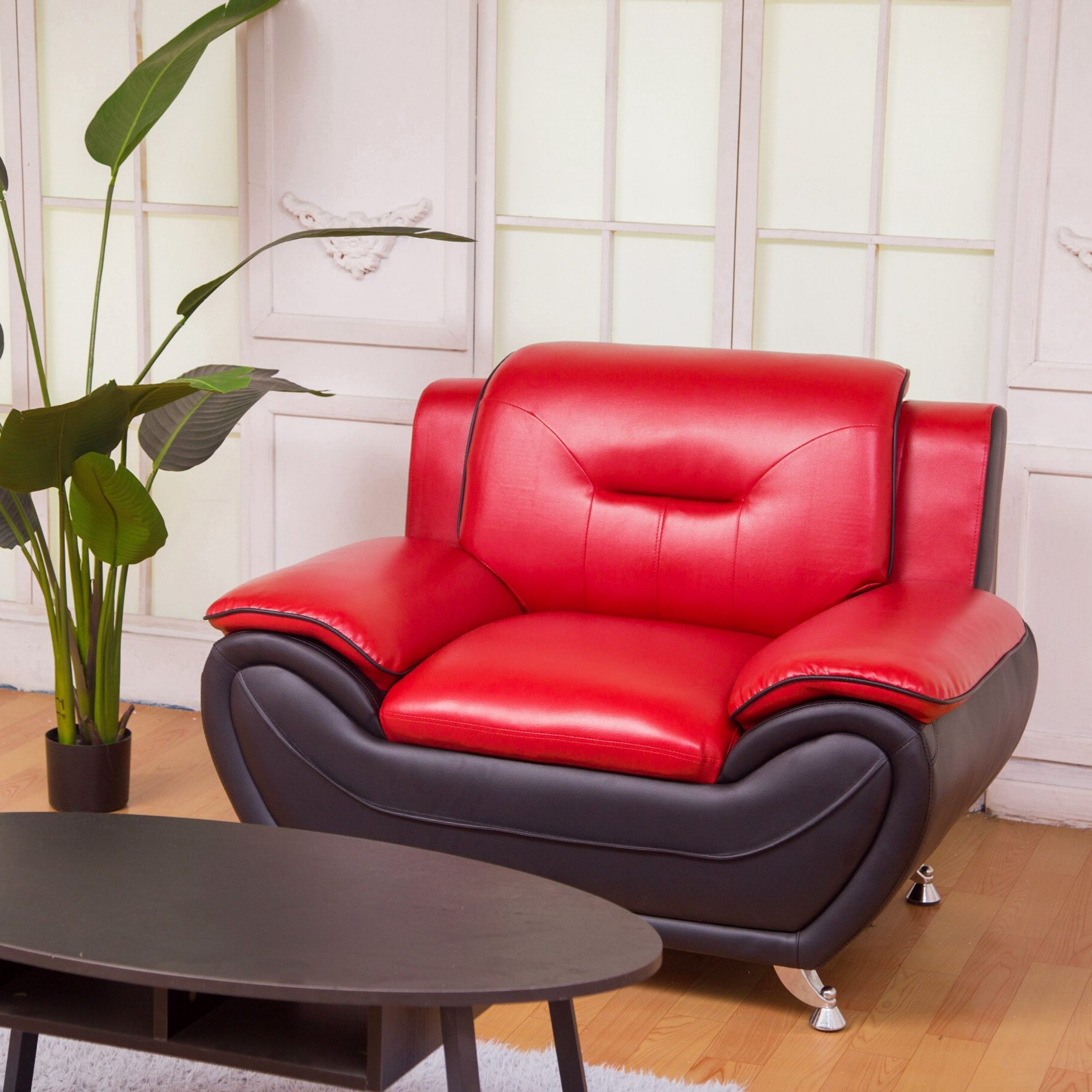 """Stclair 48"""" W Faux Leather Club Chair Pertaining To Montenegro Faux Leather Club Chairs (View 3 of 15)"""