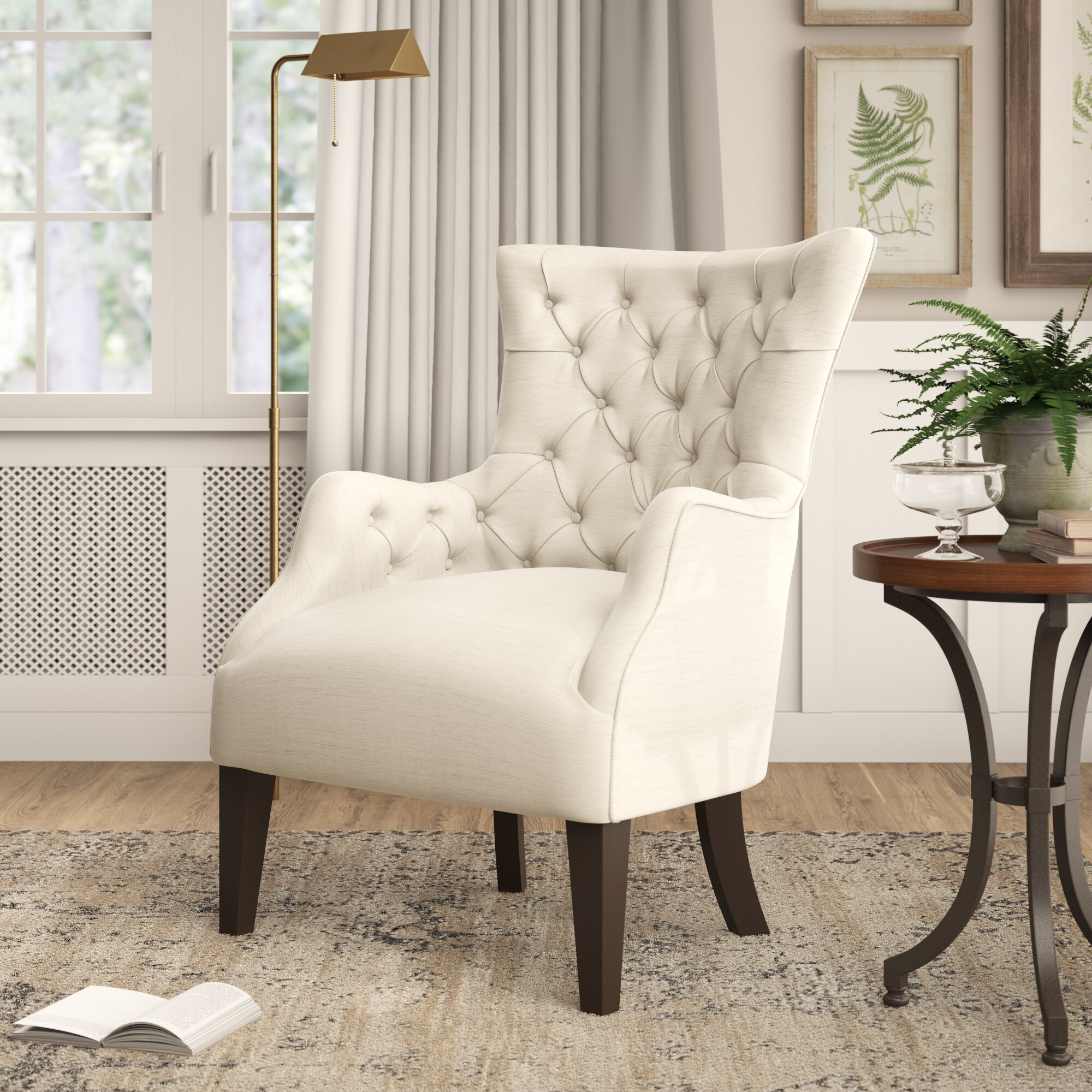 Steelton Button Wingback Chair Regarding Allis Tufted Polyester Blend Wingback Chairs (View 7 of 15)