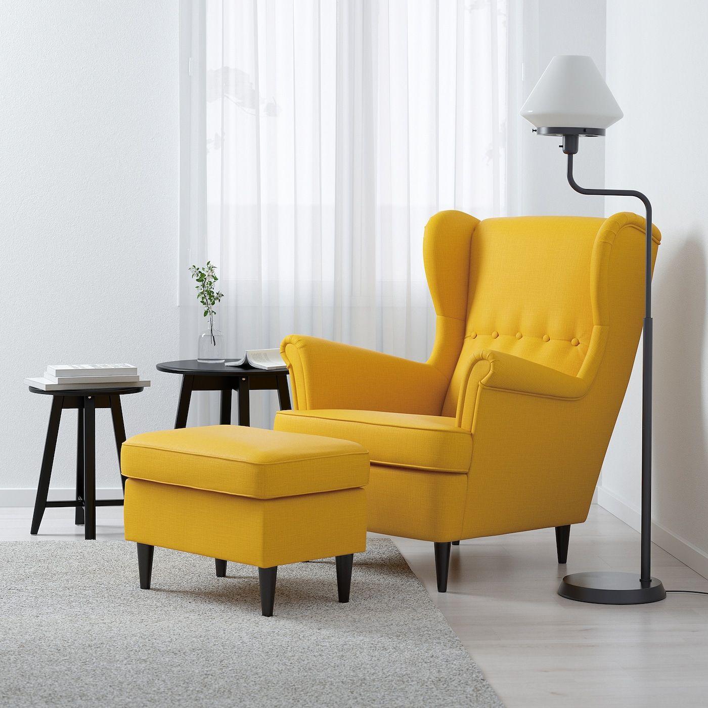 Strandmon Sillón Orejero, Skiftebo Amarillo – Ikea Within Chaithra Barrel Chair And Ottoman Sets (View 6 of 15)
