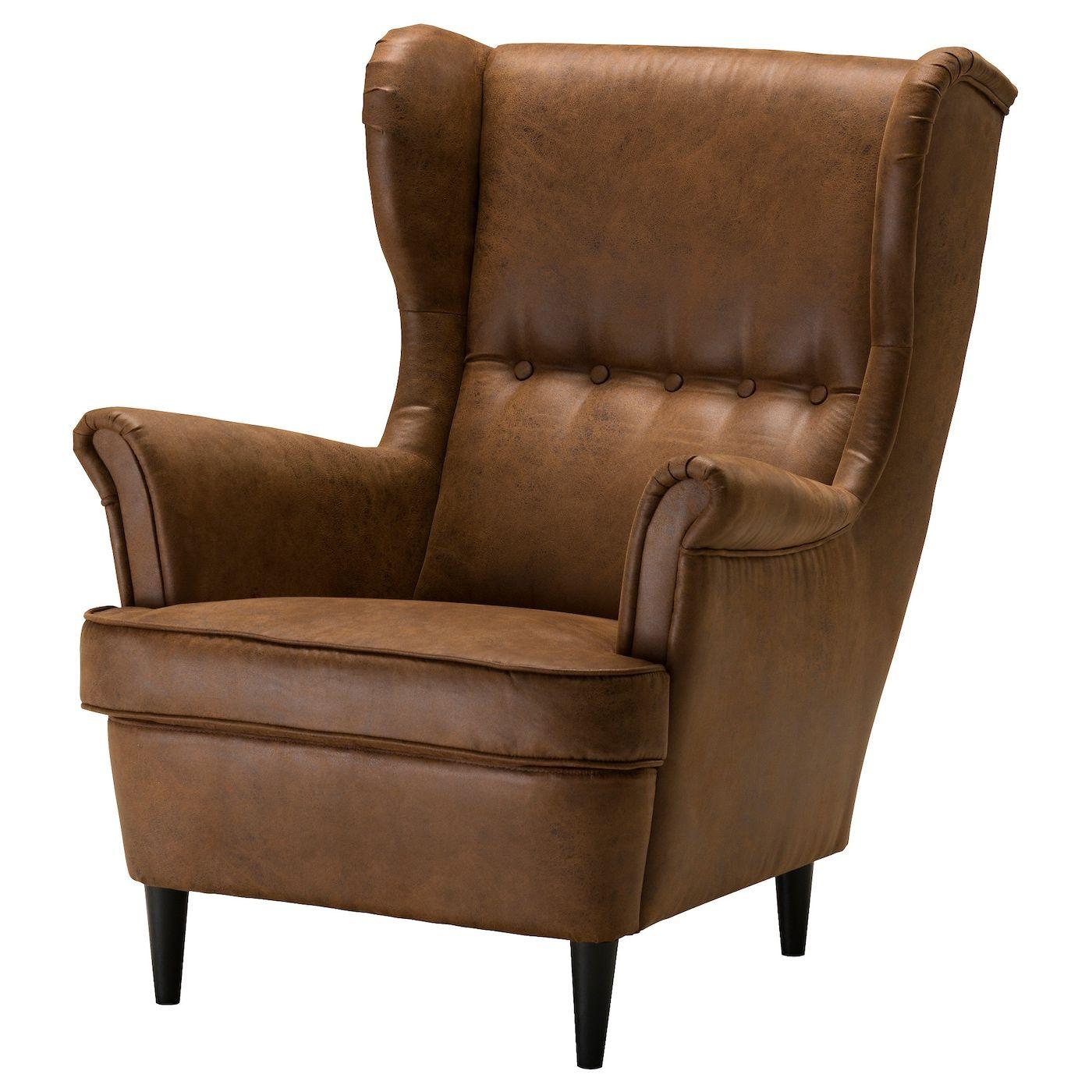 Strandmon Wing Chair – Järstad Brown – Ikea | Ikea Strandmon With Marisa Faux Leather Wingback Chairs (View 12 of 15)