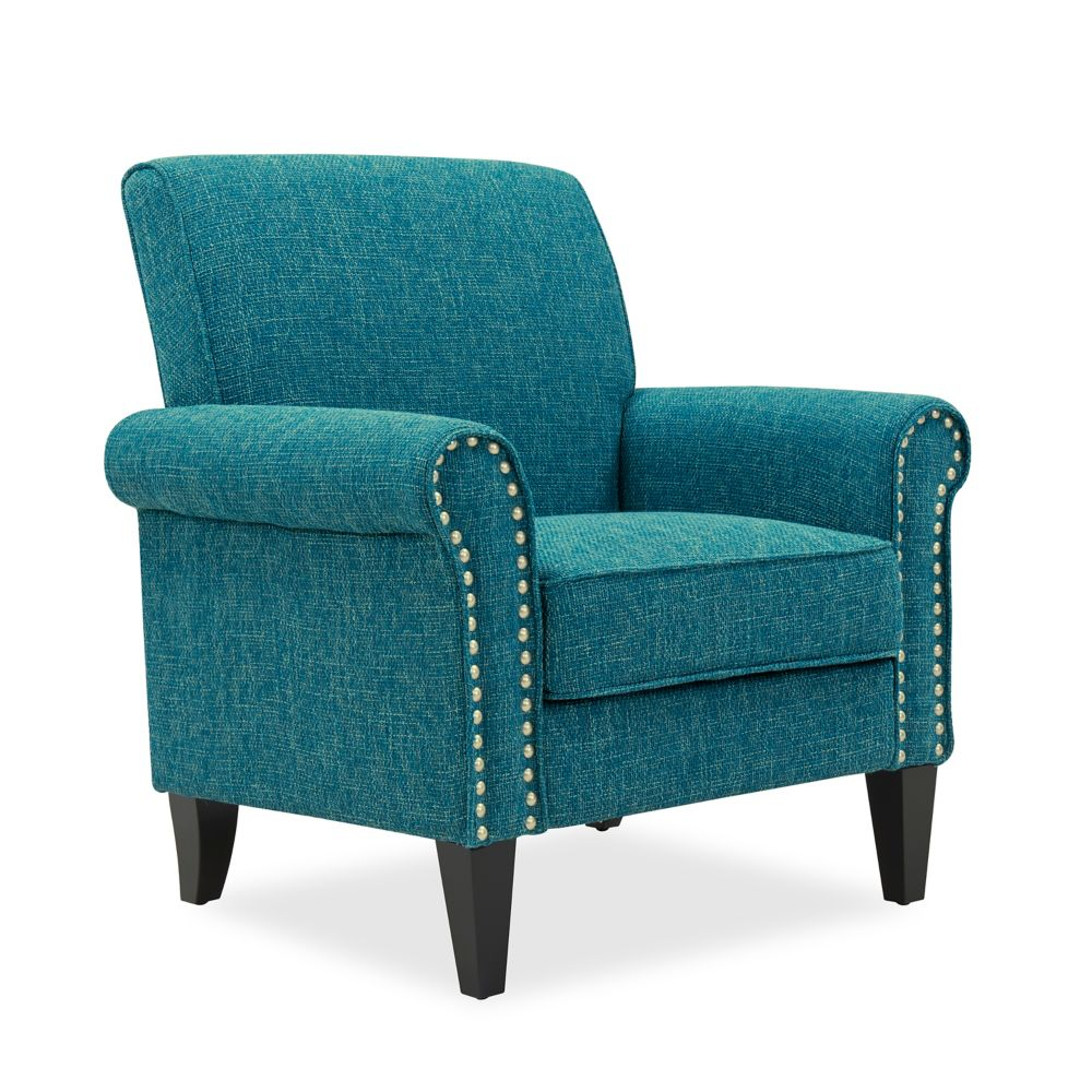 Tapley Arm Chair In Peacock Blue & Sea Green Tweed With Hanner Polyester Armchairs (View 15 of 15)
