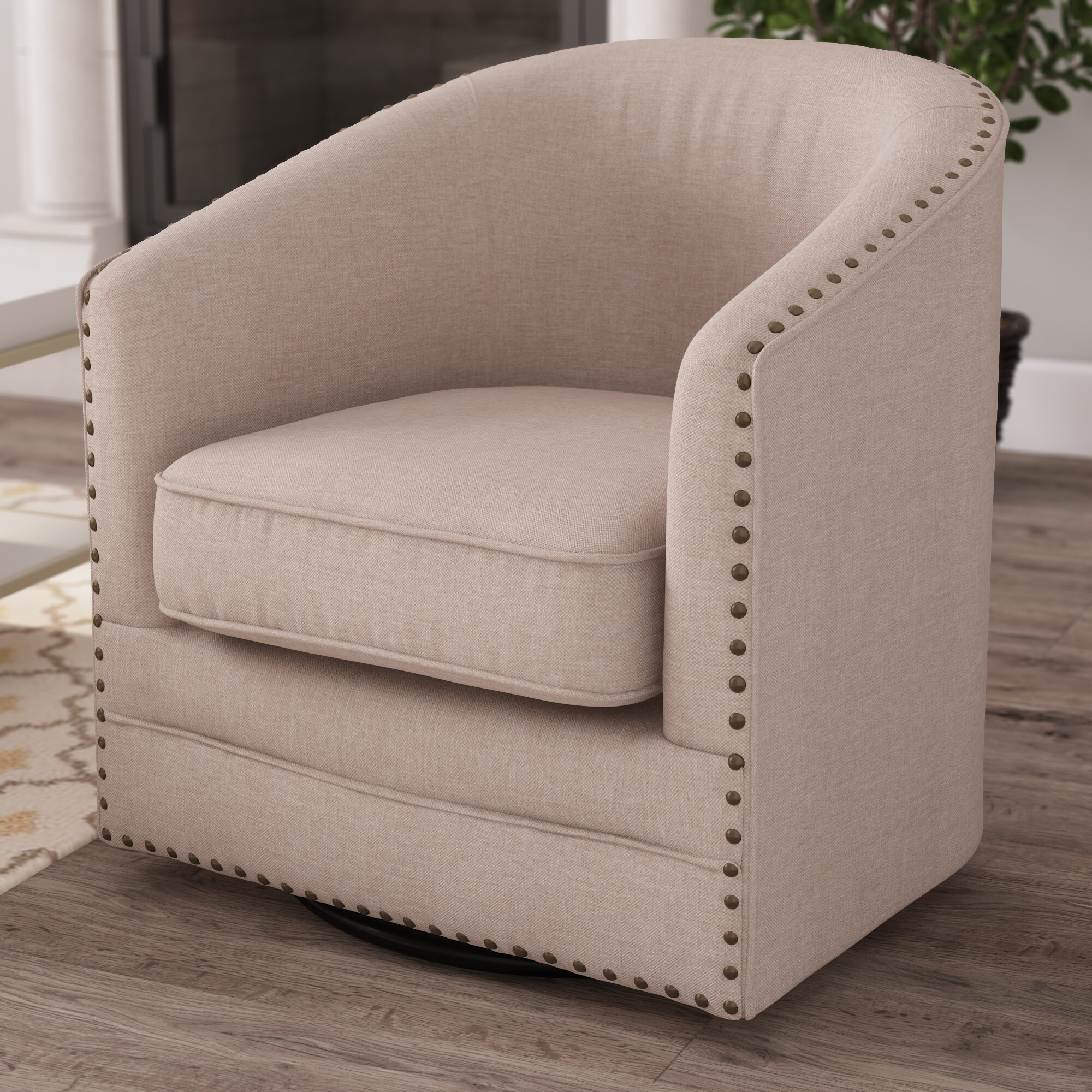 Teri Swivel Barrel Chair Pertaining To Barnard Polyester Barrel Chairs (View 8 of 15)