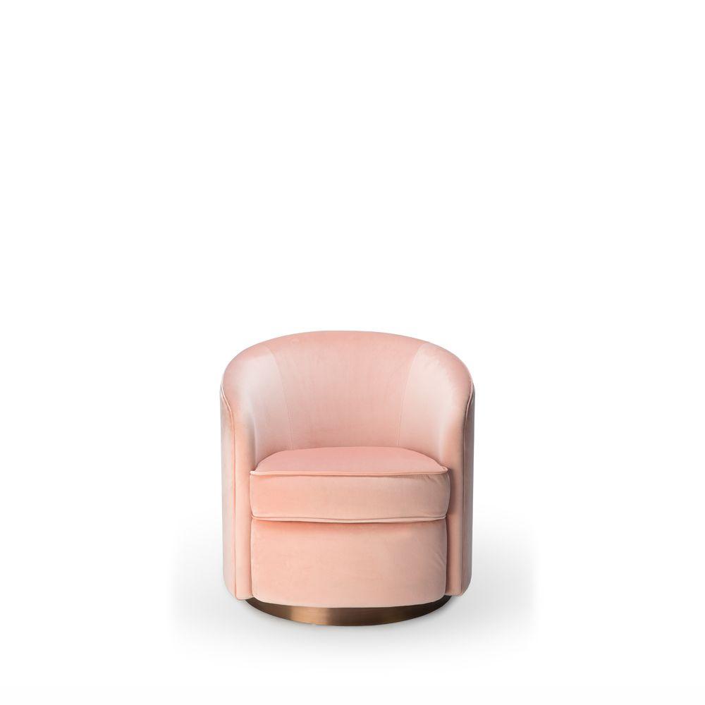 Tge 020130 Swivel Armchair – Pink Velvet 74X76X76 | Swivel For Cohutta Armchairs (View 5 of 15)
