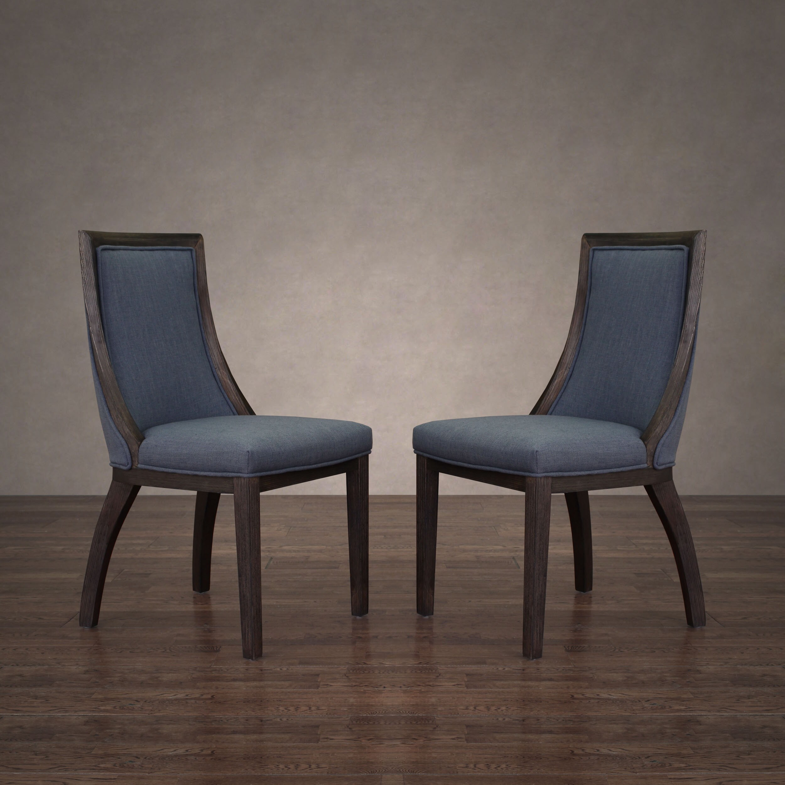 The Gray Barn Park Avenue Austria Navy Linen Dining Chair (Set Of 2) For Madison Avenue Tufted Cotton Upholstered Dining Chairs (Set Of 2) (View 5 of 15)