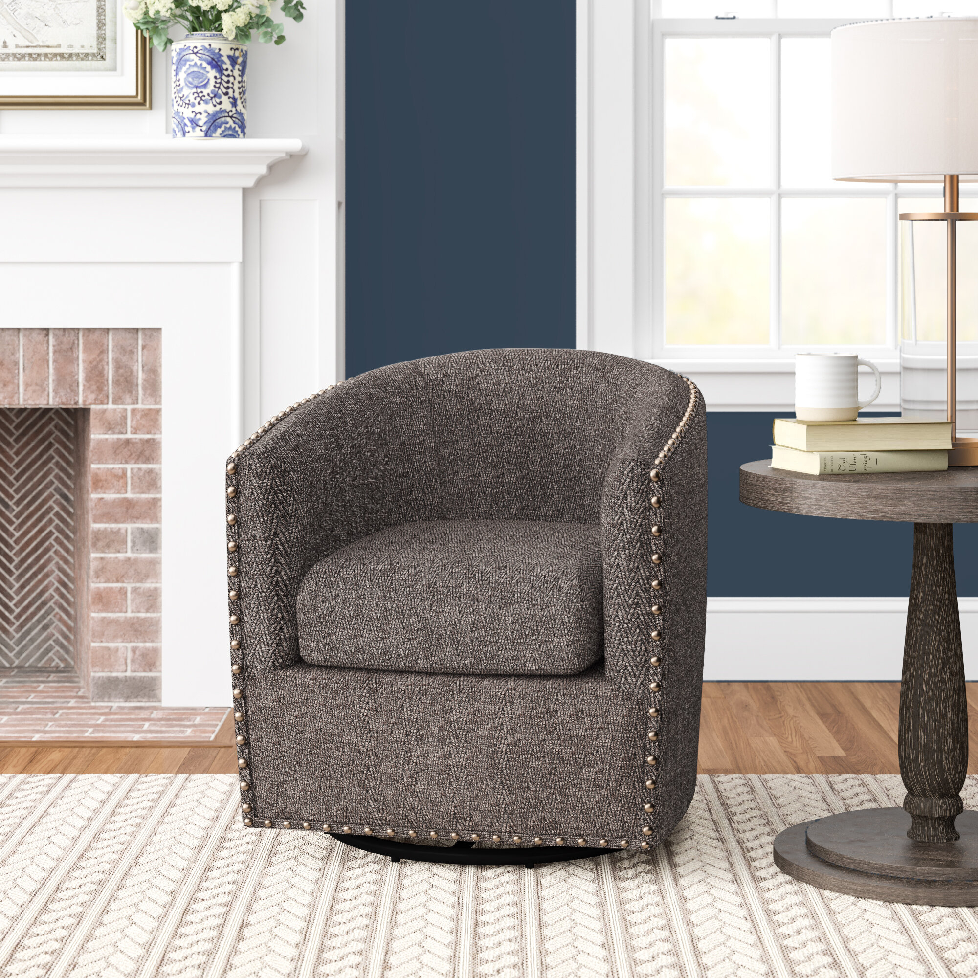 "Three Posts™ Leominster 28"" W Polyester Swivel Barrel Chair With Danow Polyester Barrel Chairs (View 3 of 15)"