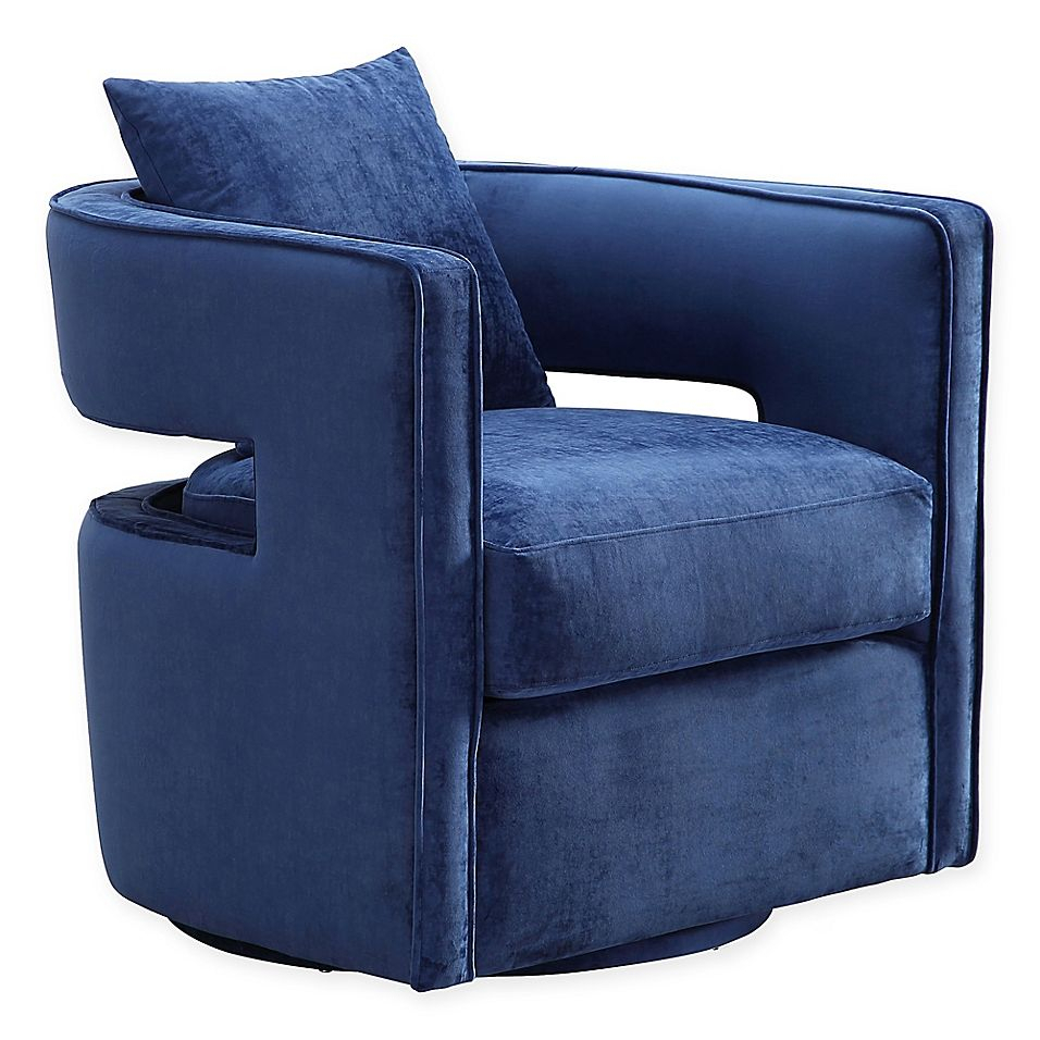 Tov Furniture Velvet Swivel Kennedy Chair | Bed Bath Regarding Lucea Faux Leather Barrel Chairs And Ottoman (View 6 of 15)
