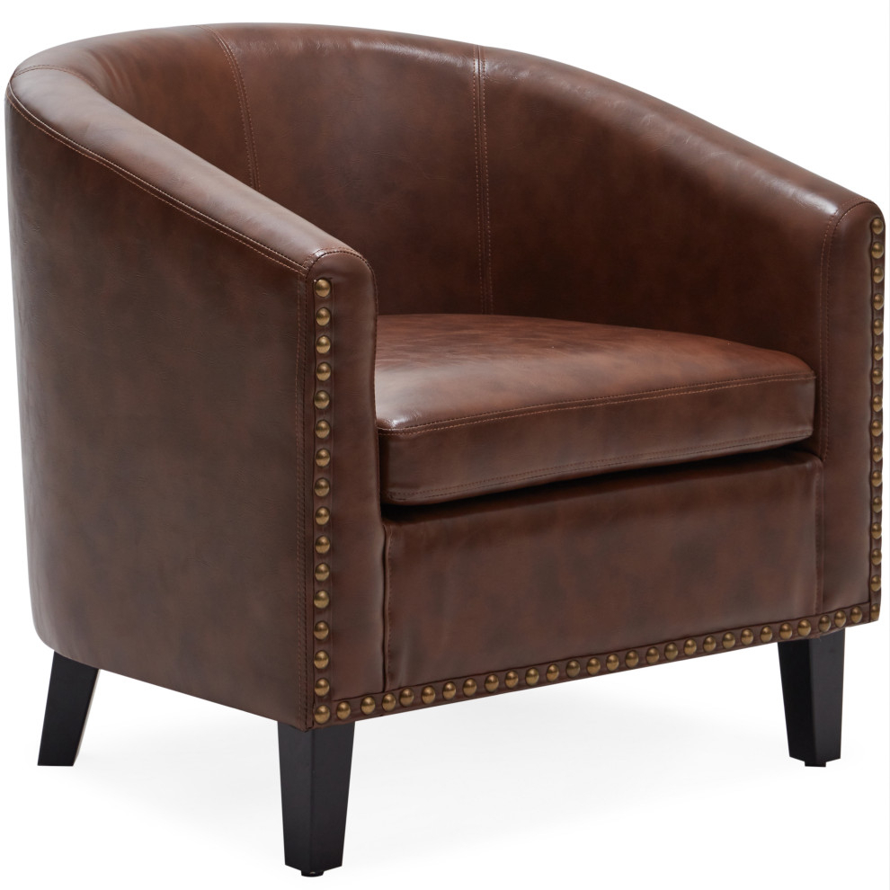 Tub Barrel Accent Chair Faux Leather, Brown For Faux Leather Barrel Chairs (View 6 of 15)