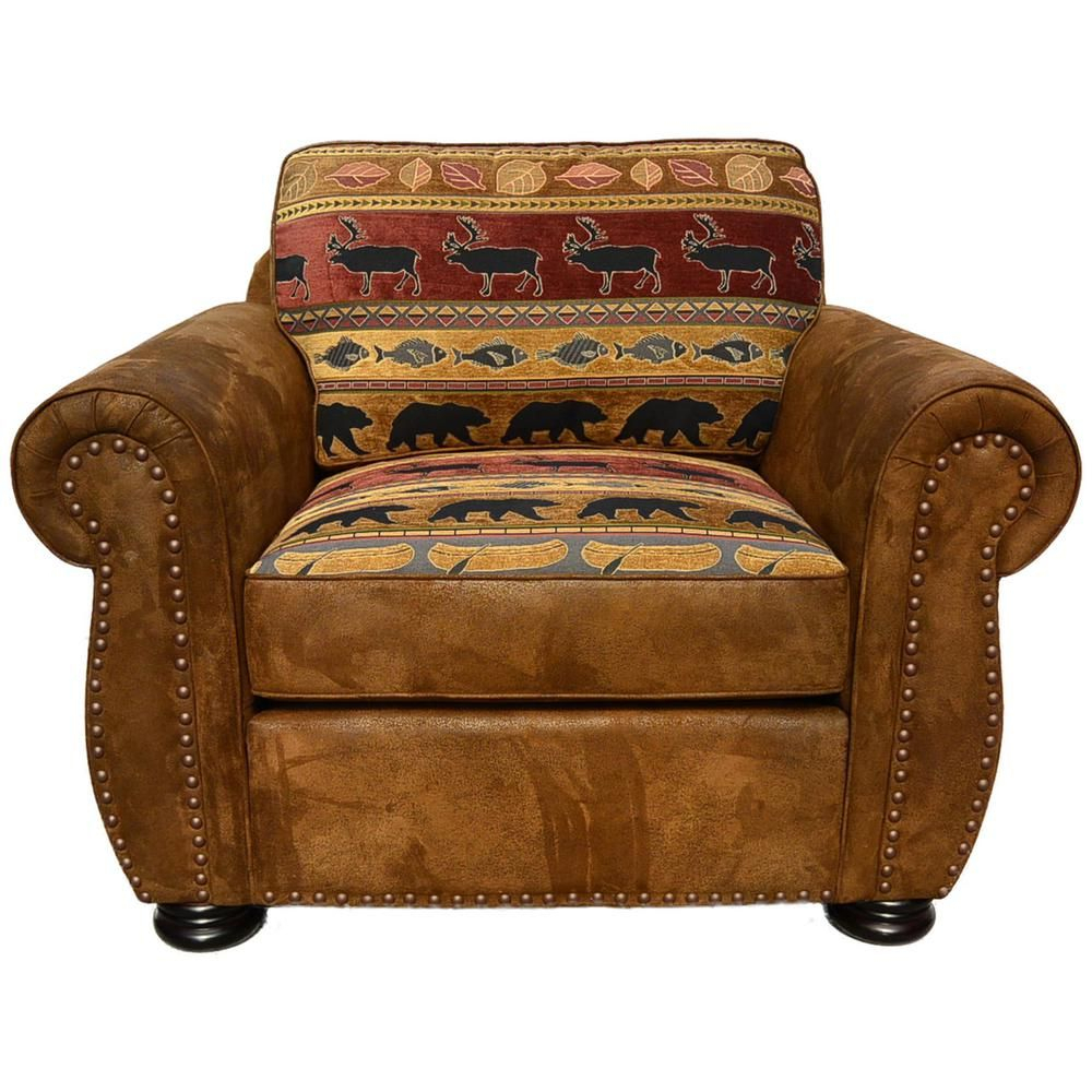 Unbranded Hunter Transitional Arm Chair In Wildlife Pattern With Regard To Deer Trail Armchairs (View 7 of 15)