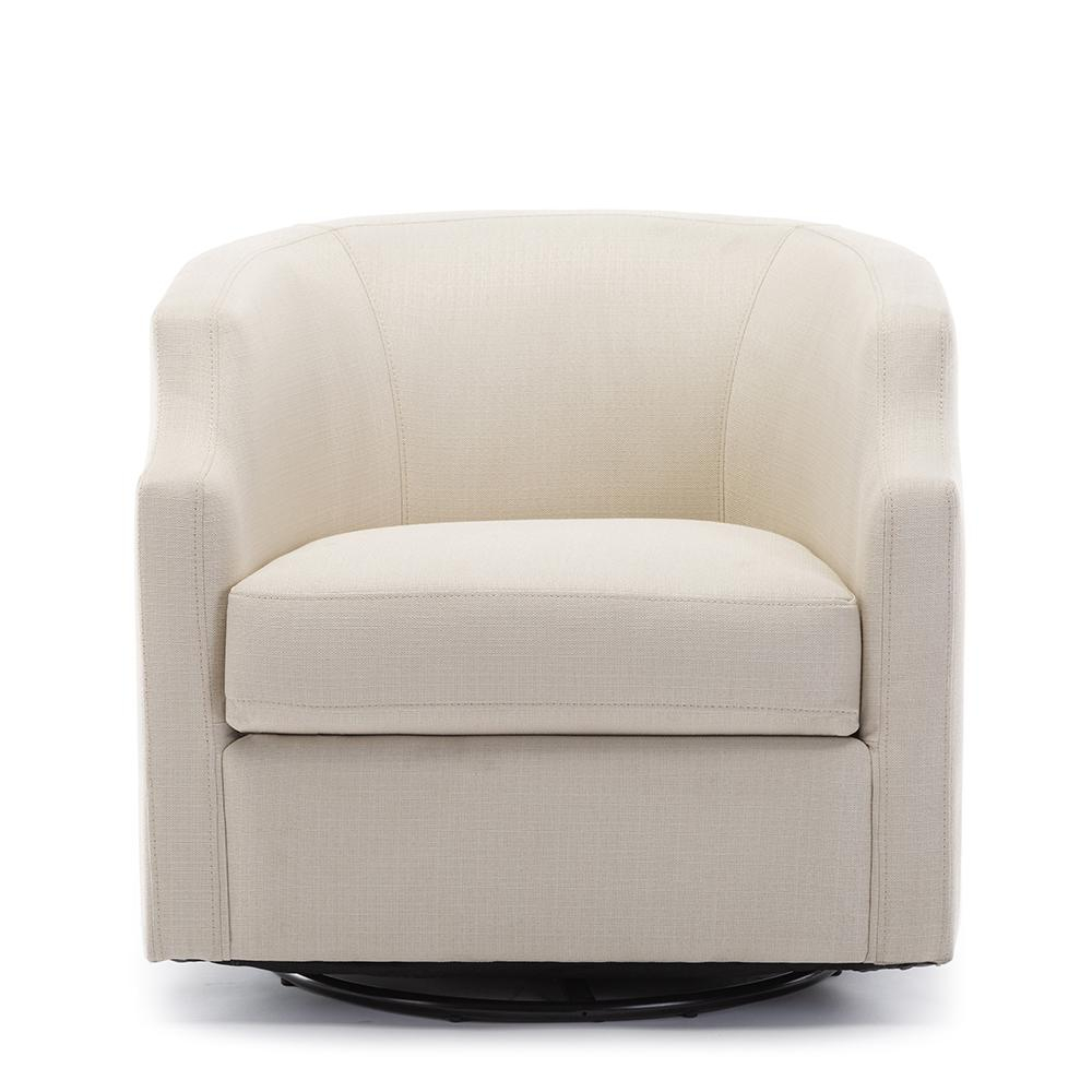 Unbranded Infinity Linen Swivel/Rocker Barrel Chair 8092 04 – The Home Depot Regarding Danow Polyester Barrel Chairs (View 6 of 15)