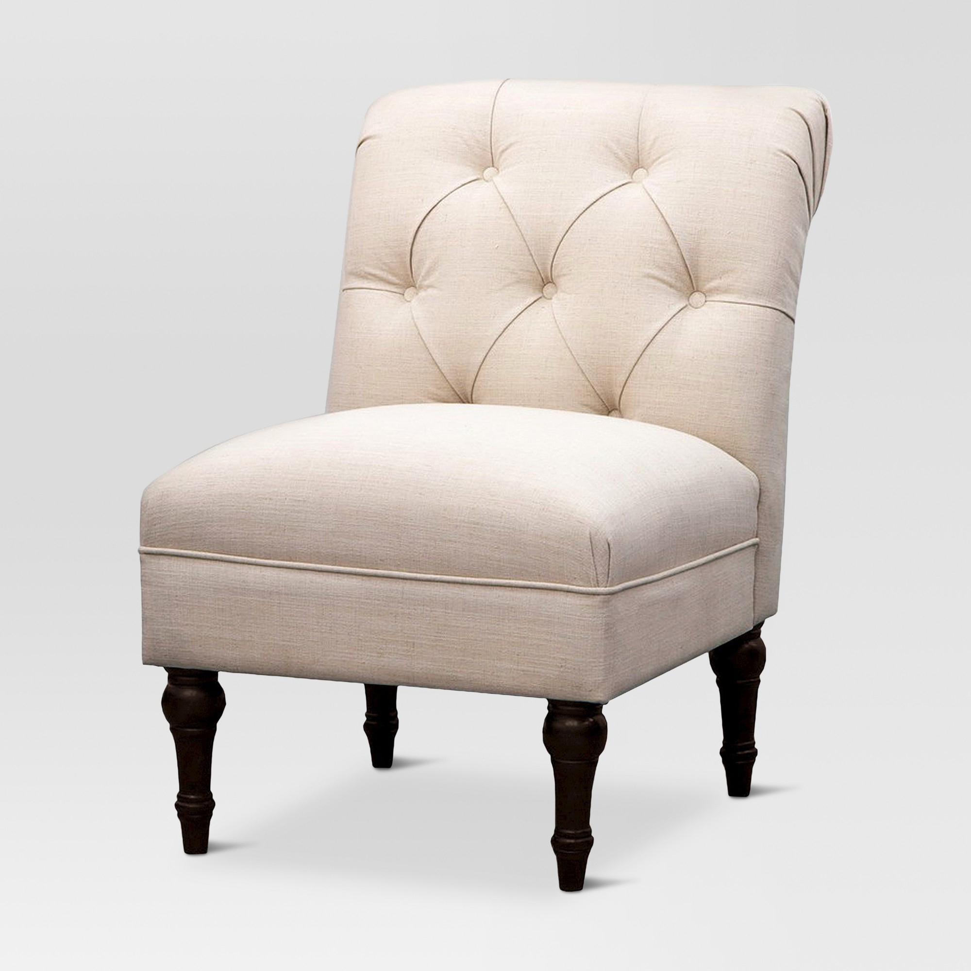 Upholstered Chair Tufted Slipper Linen – Beige – Threshold, Linen Beige – Target Regarding Maubara Tufted Wingback Chairs (View 13 of 15)