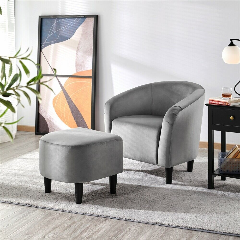 Upholstered Club Chair And Ottoman Set Accent Armchair With Ottoman Pertaining To Jazouli Linen Barrel Chairs And Ottoman (View 11 of 15)