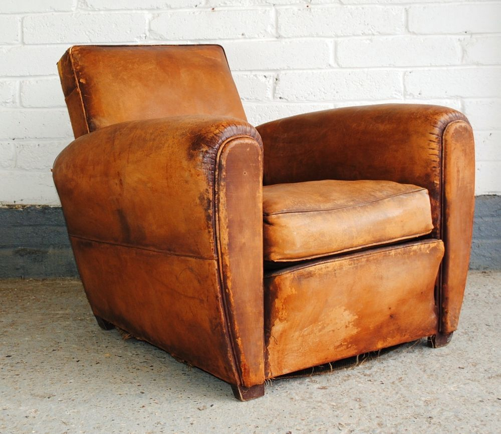Vintage French Leather Club Chair | Vintage Leather Chairs Regarding Sheldon Tufted Top Grain Leather Club Chairs (View 9 of 15)
