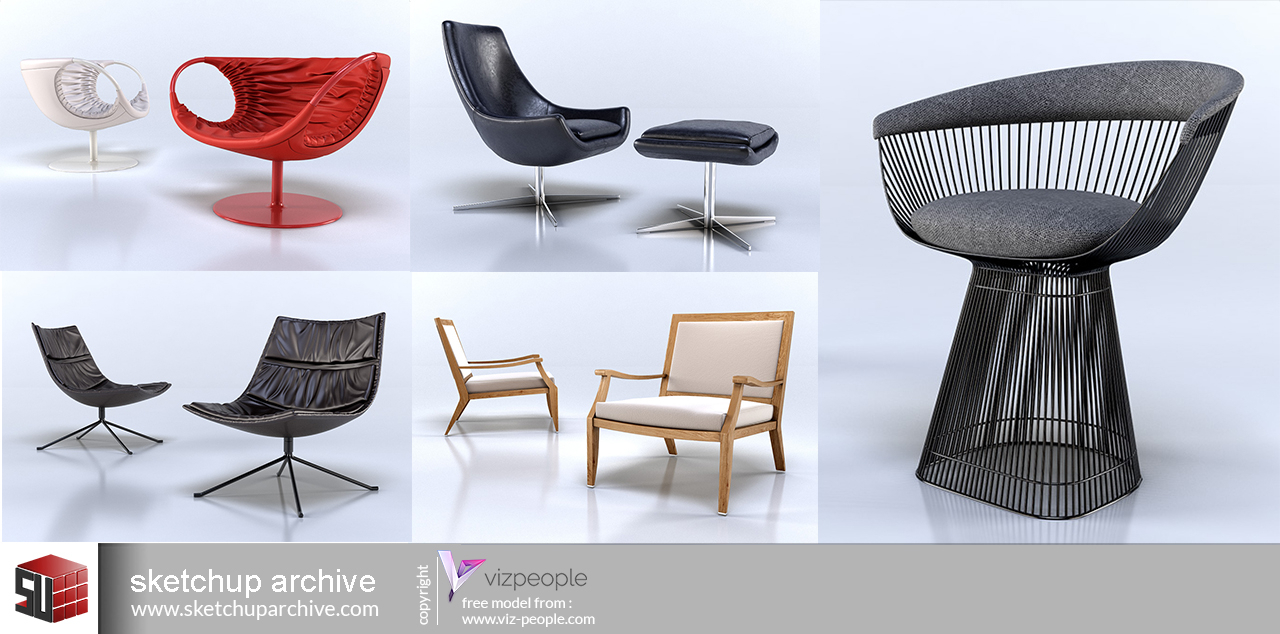 Viz People Armchairs 1 – Sketchup Archive Throughout Popel Armchairs (View 7 of 15)