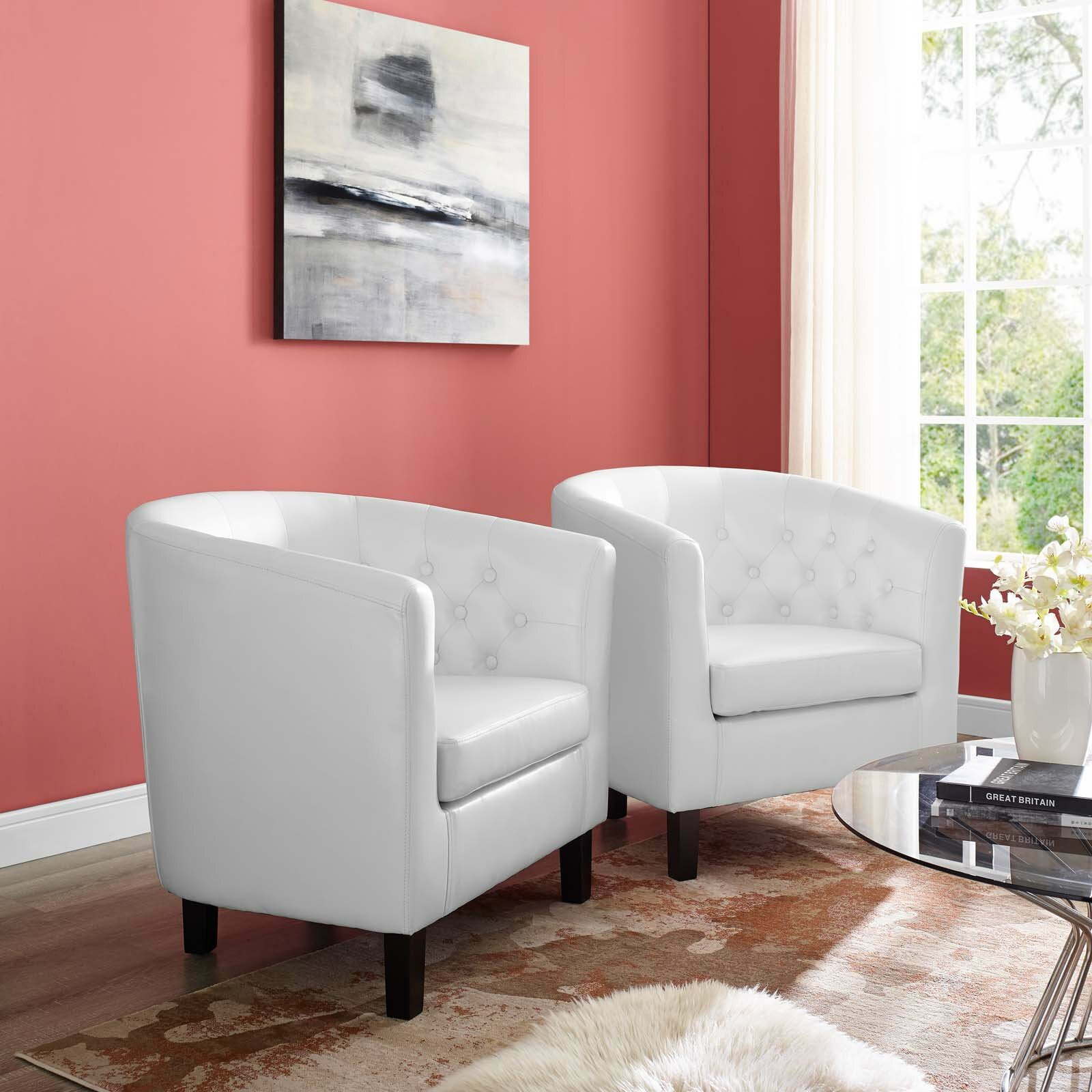 """Ziaa 61"""" W Tufted Faux Leather Barrel Chair In Ziaa Barrel Chairs (View 13 of 15)"""