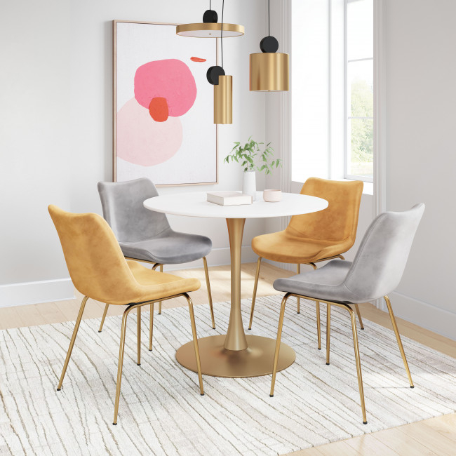 101568 – Opus Dining Table White & Gold Inside Most Current Akito  (View 14 of 15)