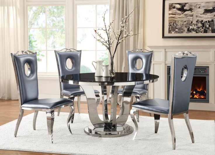 107881 82 5 Pc Blasio Chrome Metal Base Round Dining Table Intended For Best And Newest Naz  (View 10 of 15)