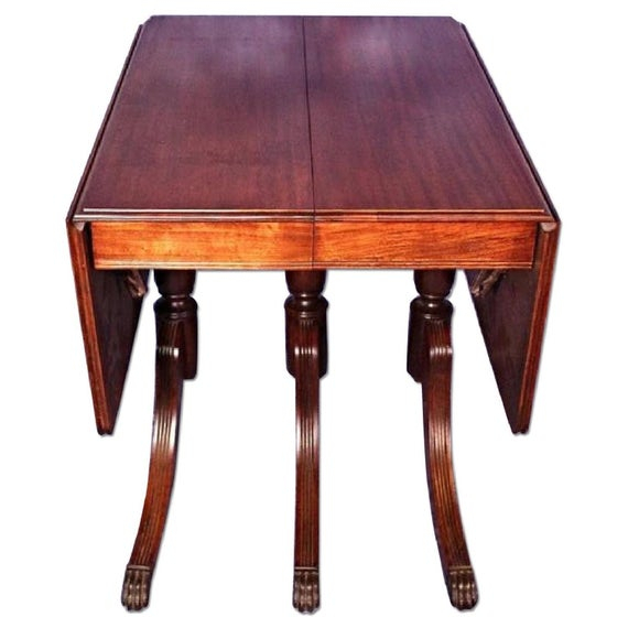 1930 Duncan Phyfe Antique Mahogany Drop Leaf Dining Table Regarding Most Current Adams Drop Leaf Trestle Dining Tables (View 10 of 15)