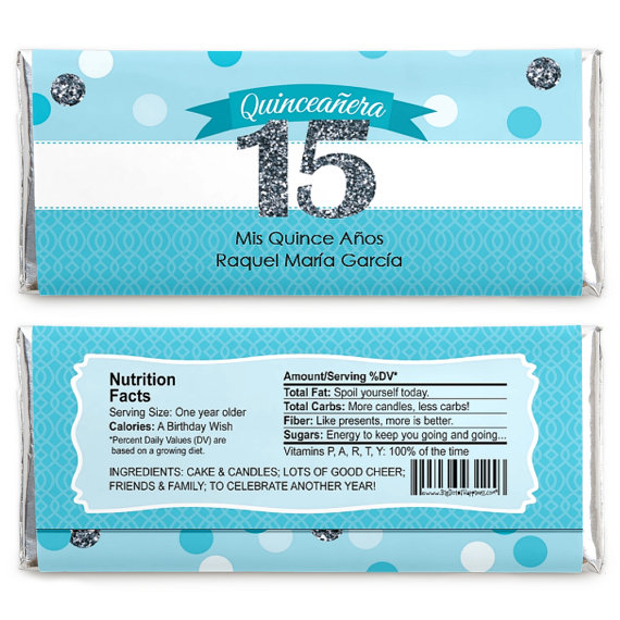 24 Quinceanera – Sweet 15 – Aqua Custom Candy Bar Wrappers Pertaining To Newest Candie  (View 8 of 15)