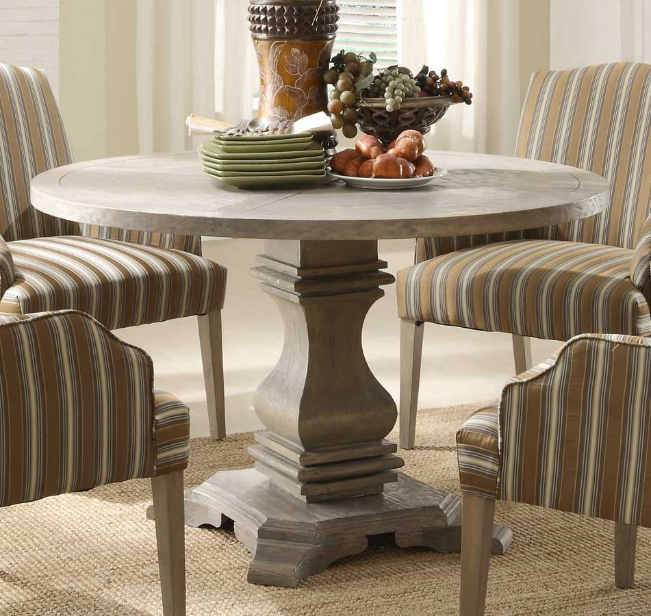 2516 48 Classic Round Rustic Weathered Wood Urn Pedestal Intended For Current Corvena 48'' Pedestal Dining Tables (View 7 of 15)