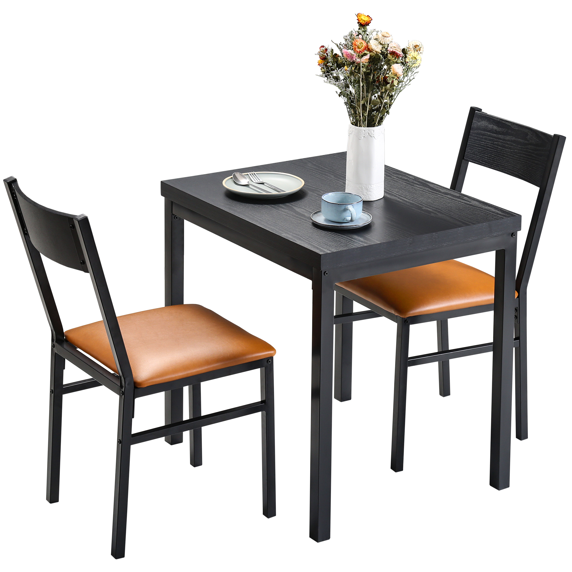 3 Piece Dining Table Set With Cushioned Chairs For Dining Pertaining To Best And Newest Tudor City 28'' Dining Tables (Photo 5 of 15)