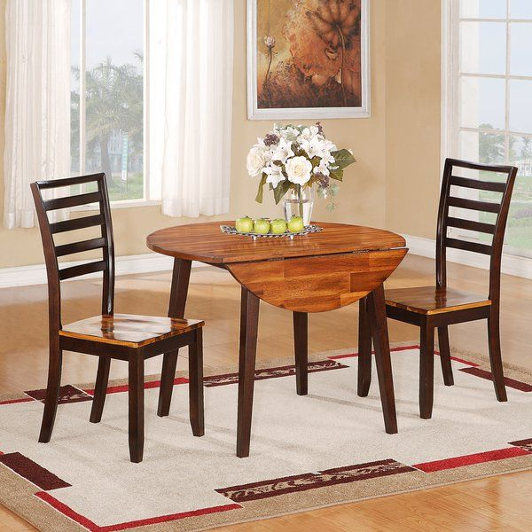 3 Piece Drop Leaf Dining Set | Extendable Dining Table Within 2017 Villani Drop Leaf Rubberwood Solid Wood Pedestal Dining Tables (View 12 of 15)