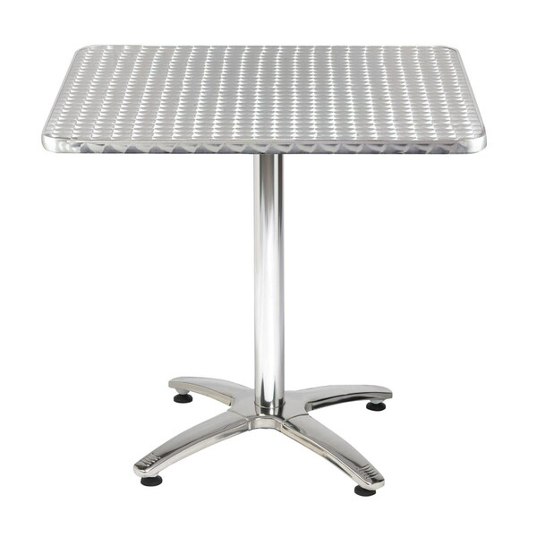 32 Inch Square Stainless Steel X Base Pedestal Table In Current Hemmer 32'' Pedestal Dining Tables (View 8 of 15)