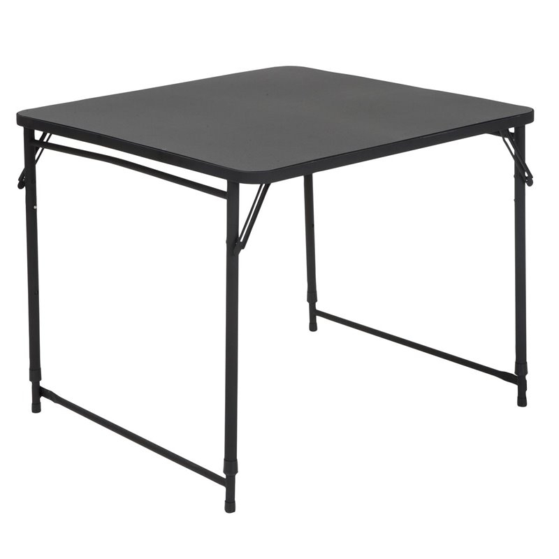 """34'' Square Height Adjustable Folding Table In Black Within Newest Dionara 56"""" L Breakroom Tables (View 12 of 15)"""