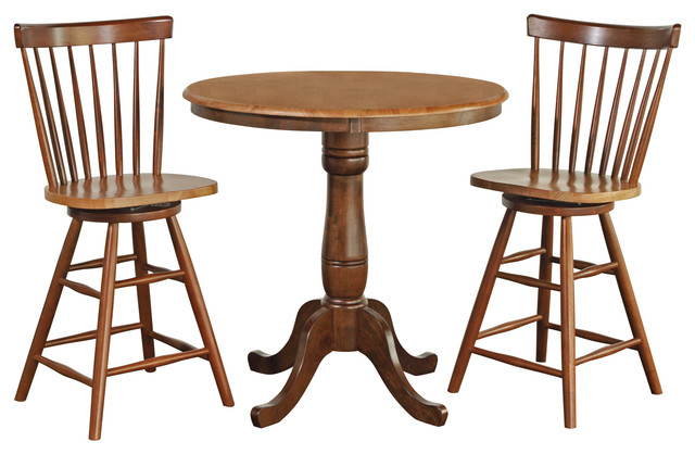 """36"""" Round Counter Height Pedestal Table With Swivel Stools For Most Recently Released Charterville Counter Height Pedestal Dining Tables (View 15 of 15)"""