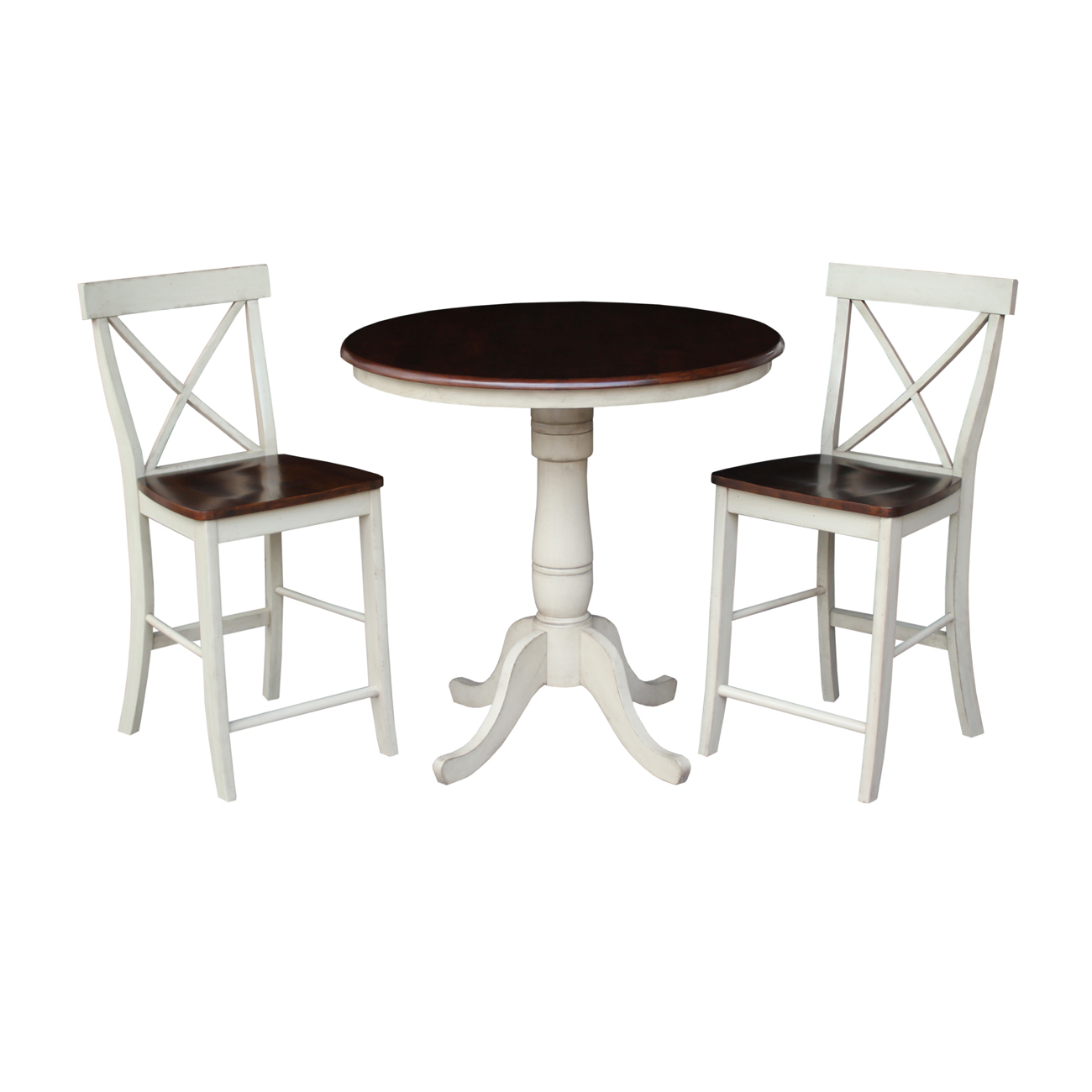 """36"""" Round Counter Height Table With 2 X Back Stools In In Most Current Barra Bar Height Pedestal Dining Tables (View 9 of 15)"""