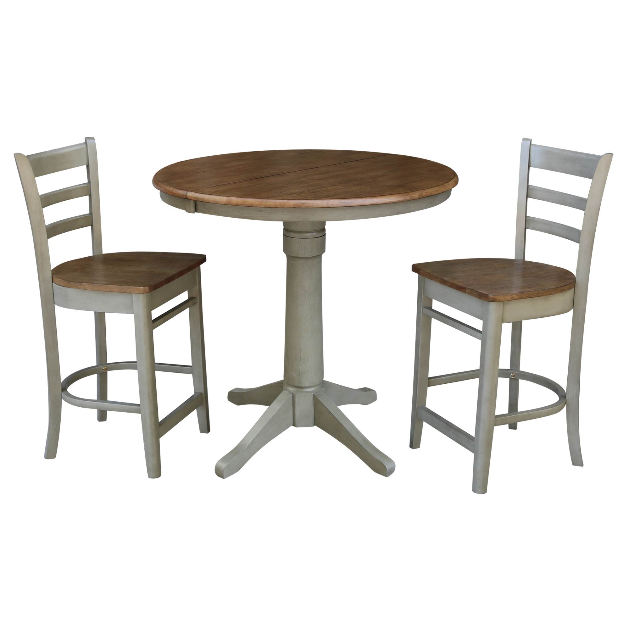 """36"""" Round Extension Dining Table With 2 Emily Counter With Regard To Best And Newest Counter Height Extendable Dining Tables (View 7 of 15)"""