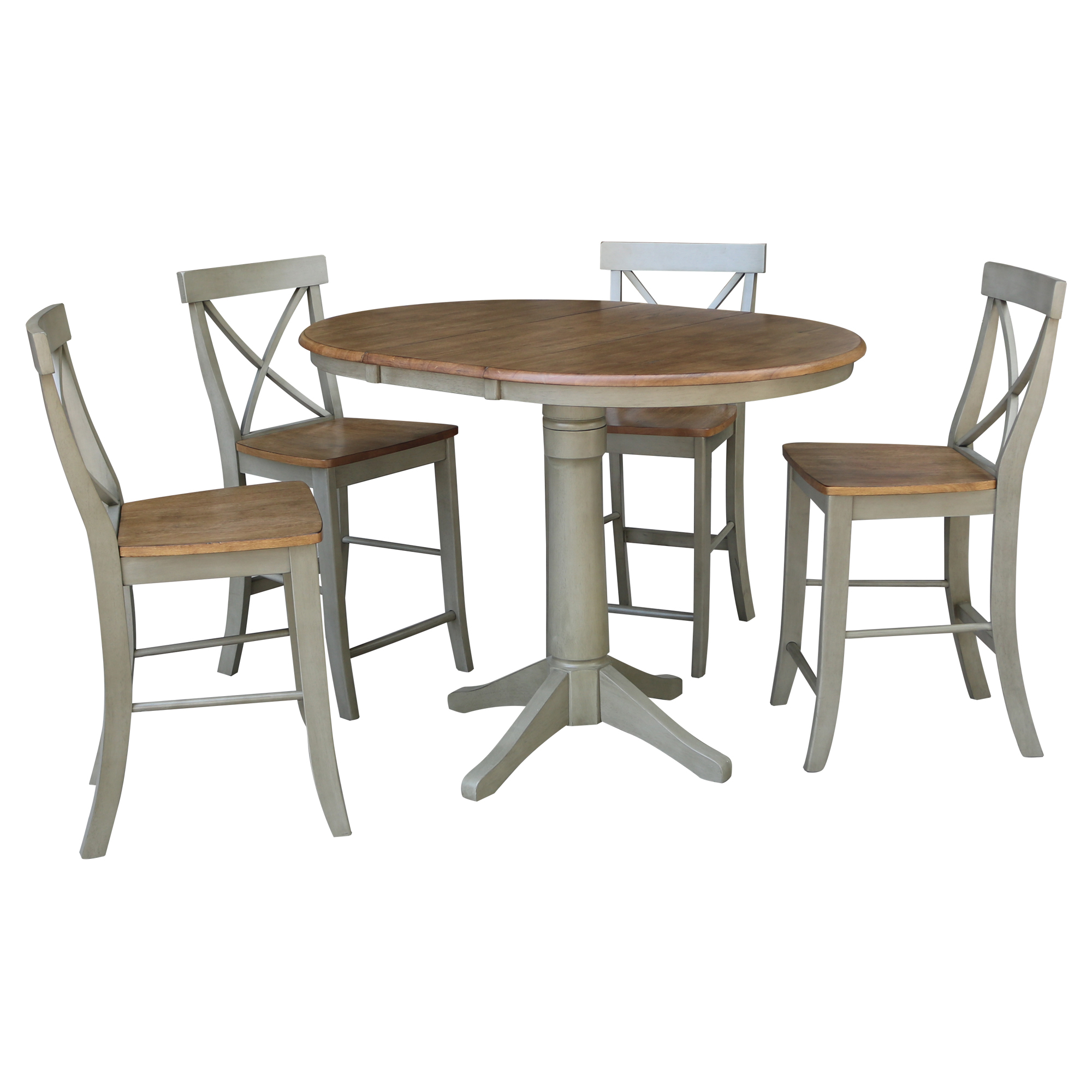 """36"""" Round Extension Dining Table With 4 X Back Counter With Most Recently Released Counter Height Extendable Dining Tables (View 13 of 15)"""