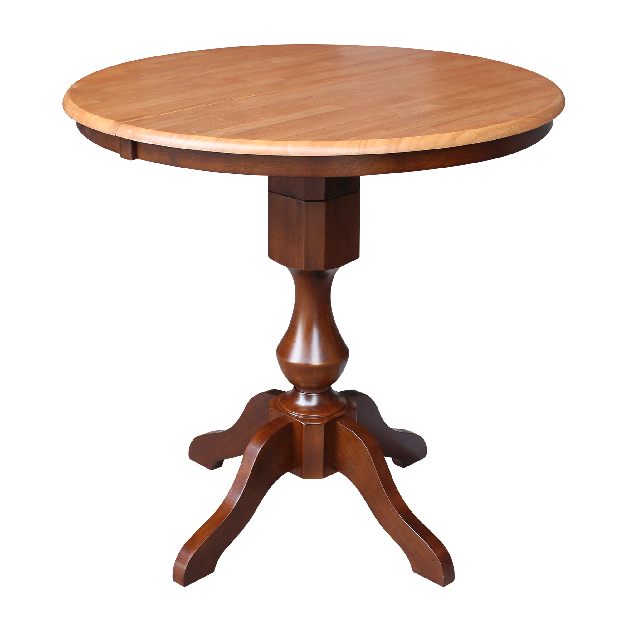 """36"""" Round Top Pedestal Counter Height Table With 12"""" Leaf Throughout Best And Newest Bar Height Pedestal Dining Tables (View 3 of 15)"""