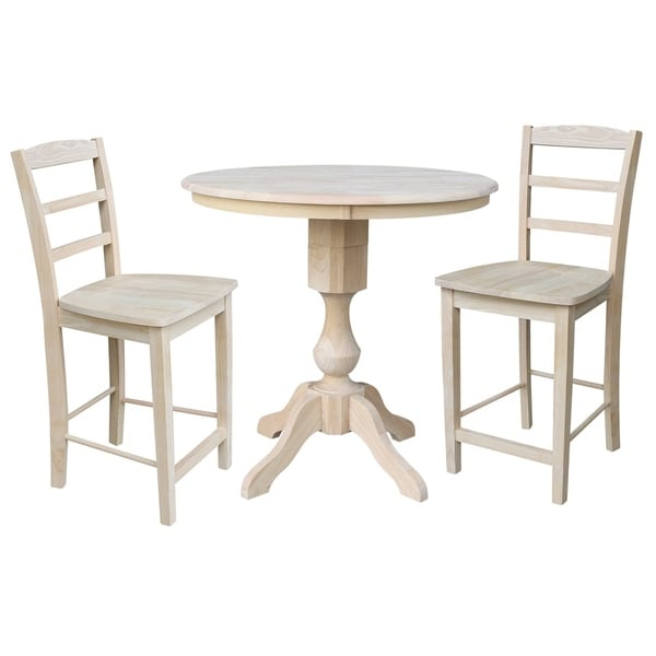 """36"""" Round Top Pedestal Counter Height Table With 2 Madrid For 2018 Andrelle Bar Height Pedestal Dining Tables (View 11 of 15)"""