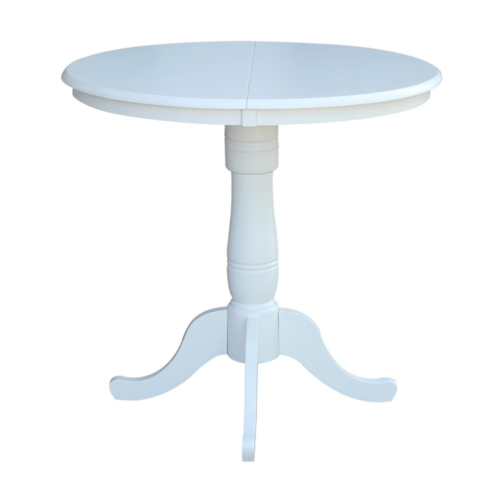 """36"""" Round Top Pedestal Table With 12"""" Leaf – Dining Height Within Latest Bar Height Pedestal Dining Tables (View 15 of 15)"""