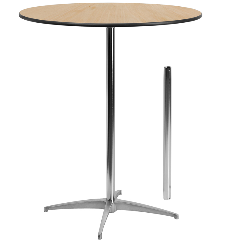 """36'' Round Wood Cocktail Table With 30'' And 42'' Columns Intended For Current Bentham 47"""" L Round Stone Breakroom Tables (View 11 of 15)"""