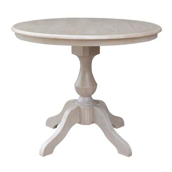 """36"""" X 36"""" Solid Wood Round Pedestal Table In Washed Gray Within Newest Pevensey 36'' Dining Tables (View 11 of 15)"""