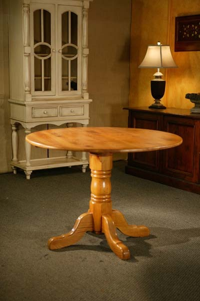 38″Round Dining Table With Oak Empire Pedestal | Lake And Within 2017 Alexxia 38'' Trestle Dining Tables (View 3 of 15)