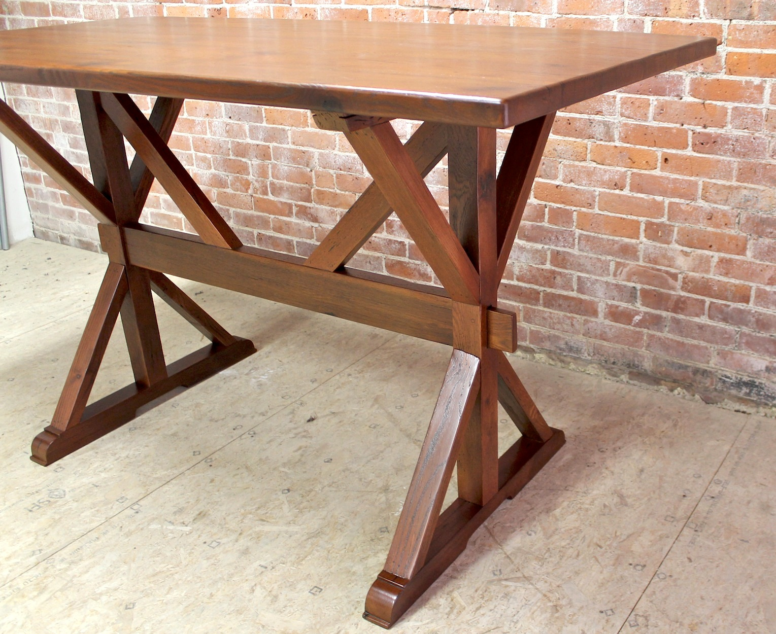 42 Bar Height Oak Trestle Table – Ecustomfinishes Regarding Newest Minerva 36'' Pine Solid Wood Trestle Dining Tables (View 12 of 15)