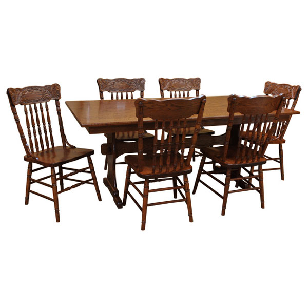 """42"""" X 72"""" Amish Trestle Dining Table Set 6   Barn Furniture Intended For Current Haddington 42'' Trestle Dining Tables (View 10 of 15)"""