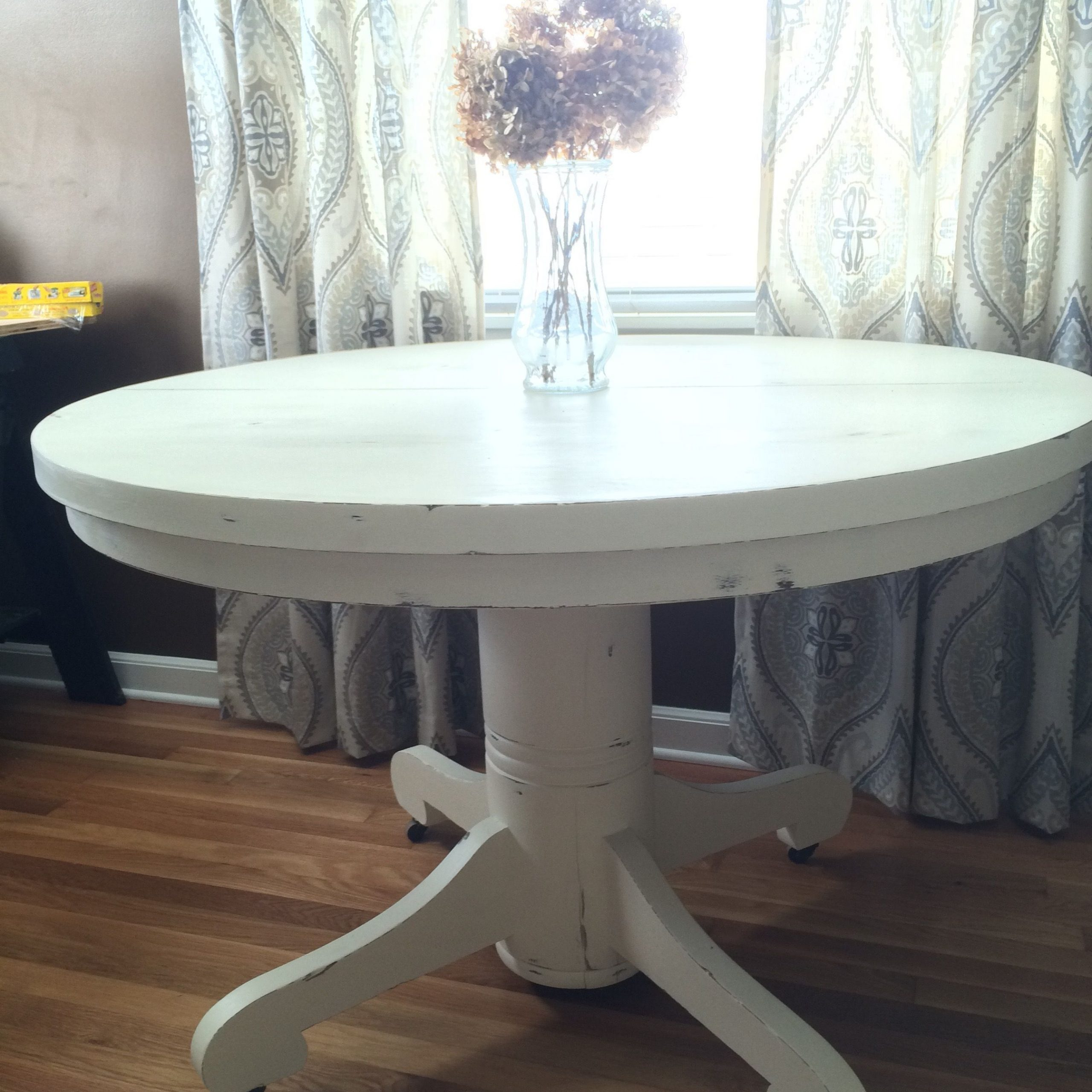 """45"""" Round Pedestal Dining Table In A White Distressed With Regard To Most Recent Servin 43'' Pedestal Dining Tables (View 13 of 15)"""
