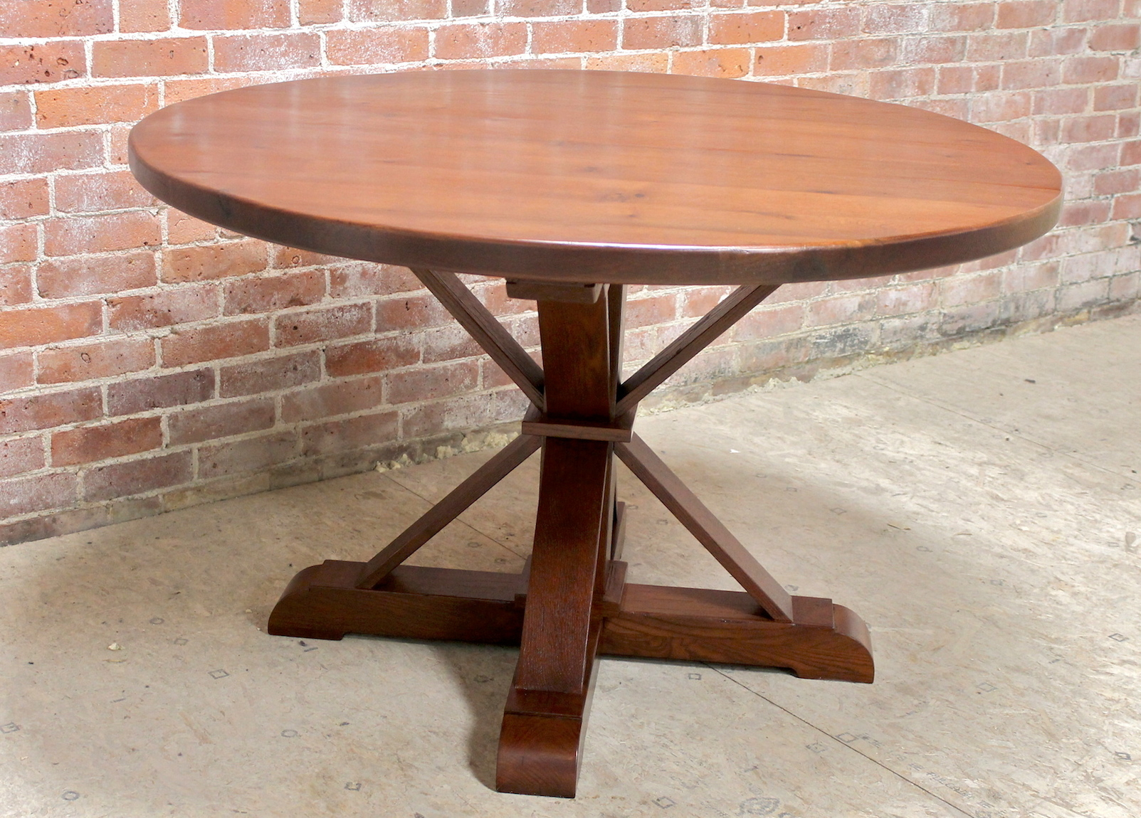 48 Inch Round Oak Table With Phoenix Pedestal – Lake And With Recent Leonila 48'' Trestle Dining Tables (View 4 of 15)