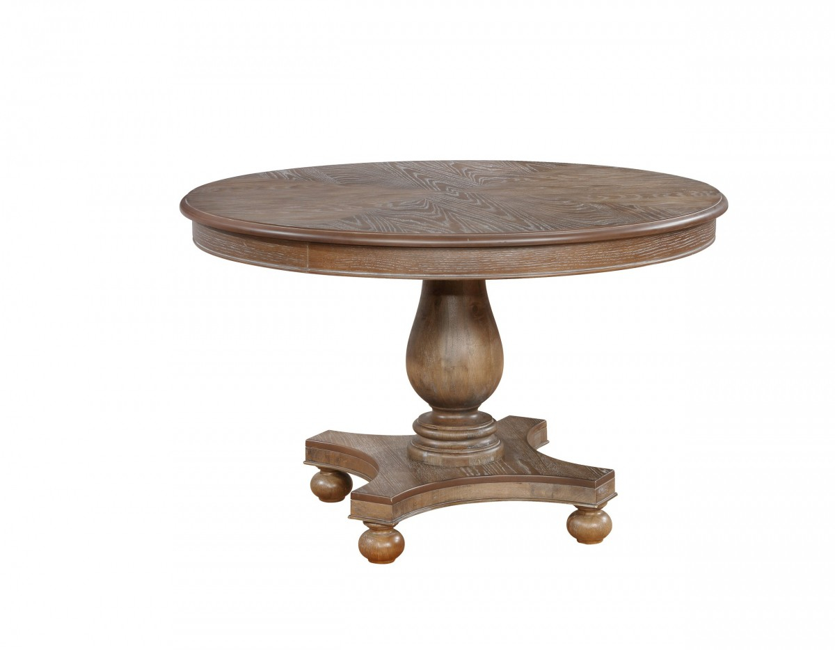 48 Round Wood Dining Table / Revolve 48 Round Adjustable Throughout Recent Monogram 48'' Solid Oak Pedestal Dining Tables (View 4 of 15)