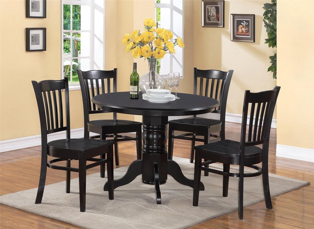 5 Pc Shelton 42 In Round Kitchen Dinette Table & 4 Chairs With Regard To Best And Newest Larkin  (View 6 of 15)