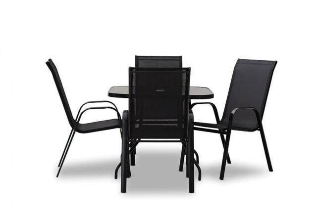 5 Piece Black Outdoor Setting – 'Sailor'   Outdoor Dining Inside 2018 Yaqub 39'' Dining Tables (View 12 of 15)