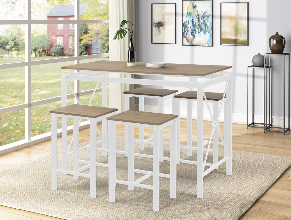 5 Piece Counter Height Dining Set, Segmart Dining Table Pertaining To 2018 Shoaib Counter Height Dining Tables (Photo 13 of 15)