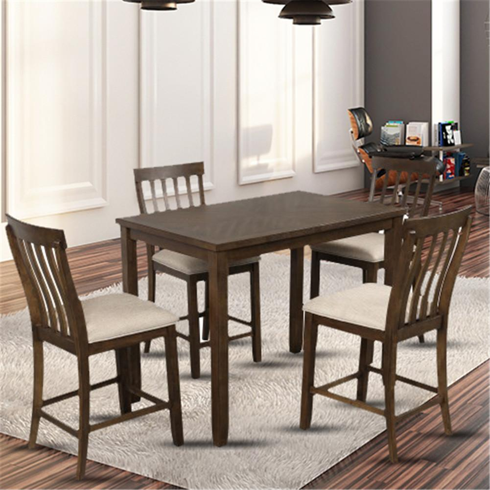 5 Piece Counter High Dining Table And Chairs, Solid Wood With Regard To Most Up To Date Keown 43'' Solid Wood Dining Tables (View 5 of 15)